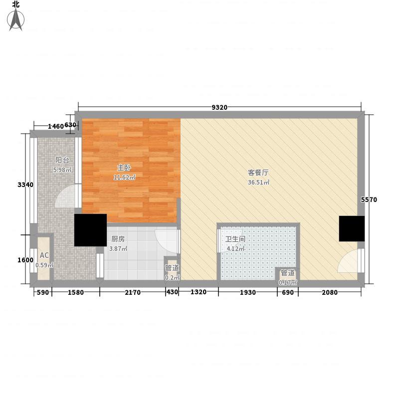 京城豪苑74.00㎡华馨阁02及12单元户型1室1厅1卫1厨