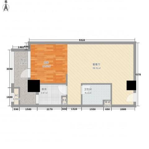 京城豪苑1厅1卫1厨59.20㎡户型图