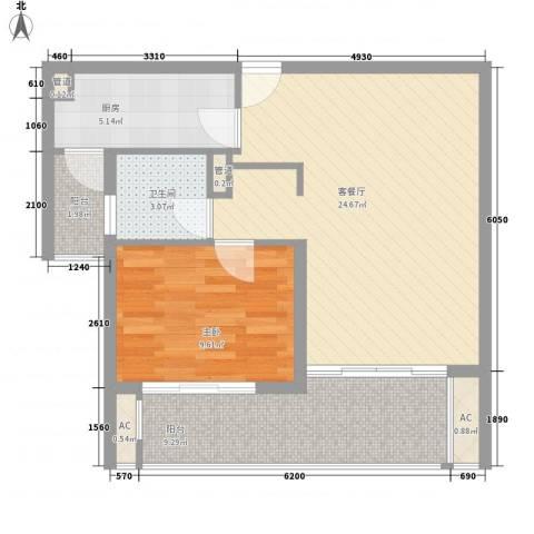 京城豪苑1室1厅1卫1厨63.90㎡户型图