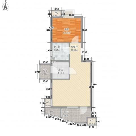 观景园1室1厅1卫1厨85.00㎡户型图