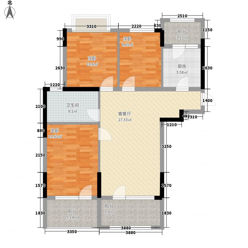 温泉明珠117.80㎡第五系产品水悦香溪A1户型3室2厅1卫1厨
