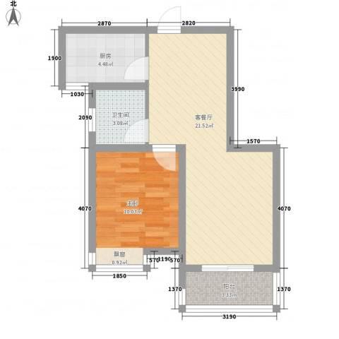 富都北村1室1厅1卫1厨62.00㎡户型图