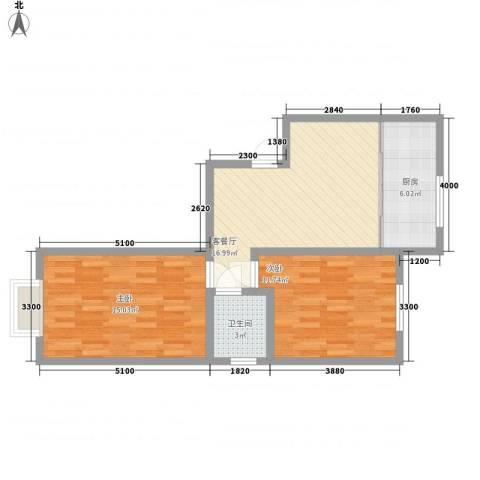 至善小区2室1厅1卫1厨75.00㎡户型图