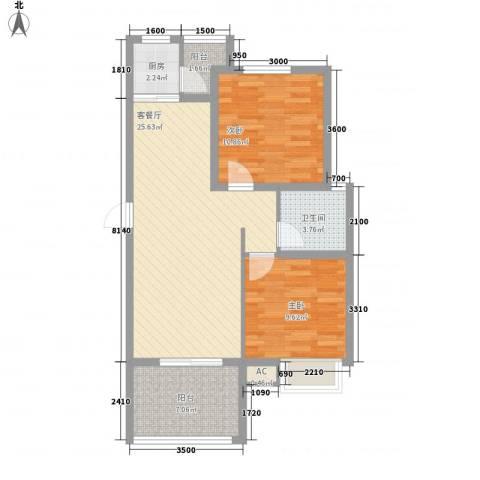 兴海・颐生园2室1厅1卫1厨79.00㎡户型图