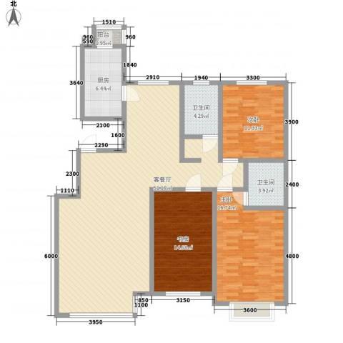 至善小区3室1厅2卫1厨154.00㎡户型图