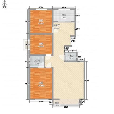 四五小区3室1厅2卫1厨114.00㎡户型图