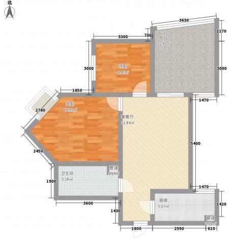 新界(长安)2室1厅1卫1厨76.00㎡户型图