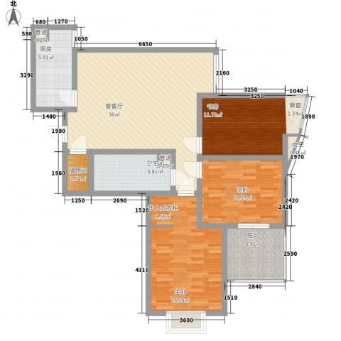 新界(长安)3室1厅1卫1厨108.00㎡户型图