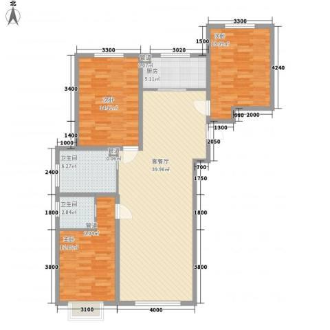金桥花园3室1厅2卫1厨131.00㎡户型图