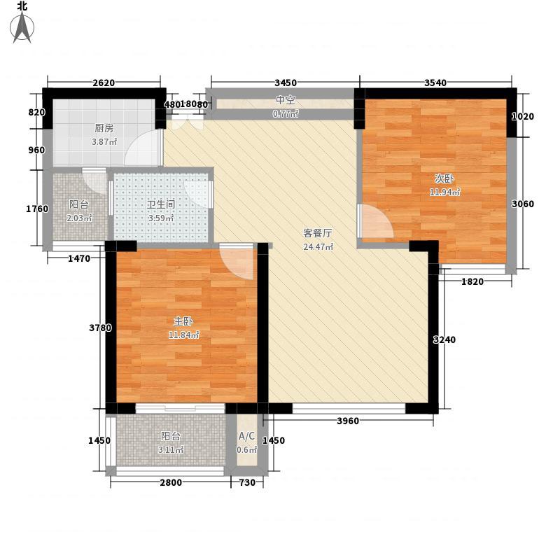 鸿业城市花园88.00㎡04座02单元户型2室2厅1卫1厨