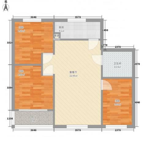 林梅新村3室1厅1卫1厨83.00㎡户型图