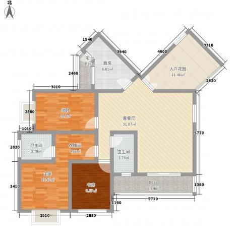普瑞华庭3室1厅2卫1厨145.00㎡户型图