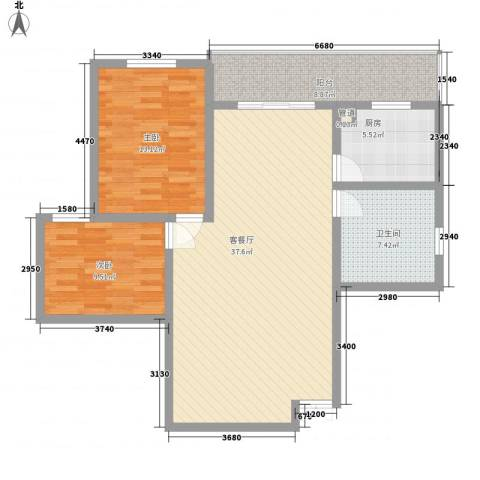 南园大厦2室1厅1卫1厨116.00㎡户型图