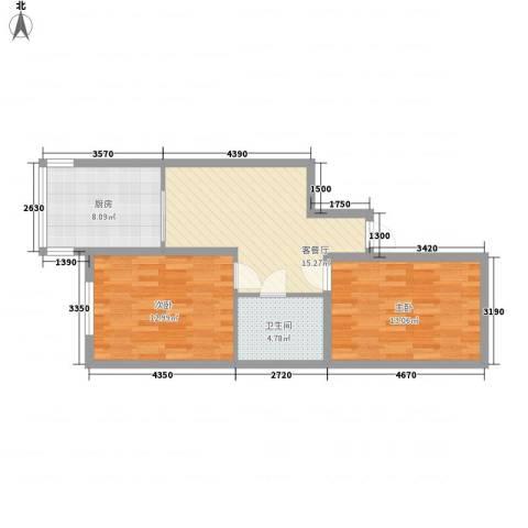 四季台北2室1厅1卫1厨77.00㎡户型图