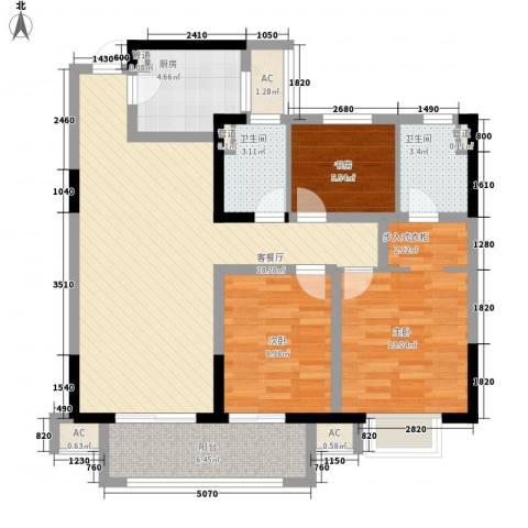 龙湖香醍漫步3室1厅2卫1厨113.00㎡户型图