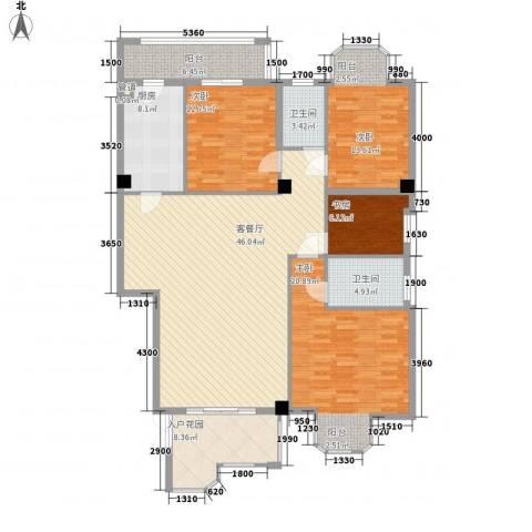 君汇华庭4室1厅2卫1厨181.00㎡户型图