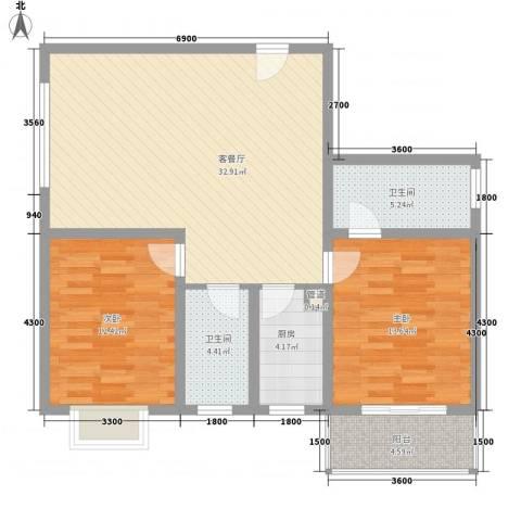 东方绿洲2室1厅2卫1厨105.00㎡户型图