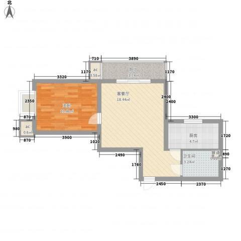 北辰广场1室1厅1卫1厨61.00㎡户型图