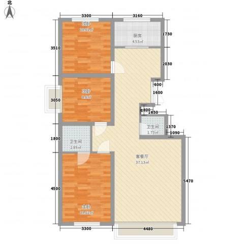 万达小区3室1厅2卫1厨111.00㎡户型图