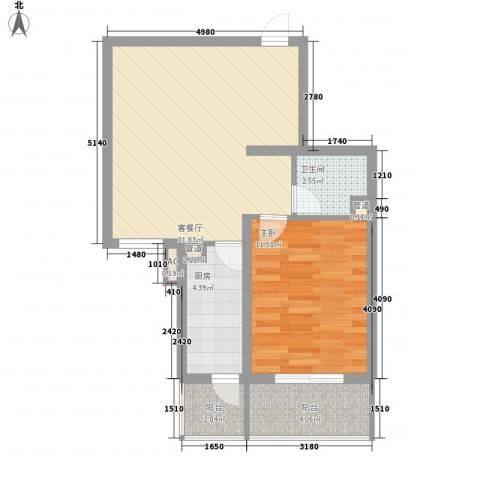 北辰广场1室1厅1卫1厨68.00㎡户型图