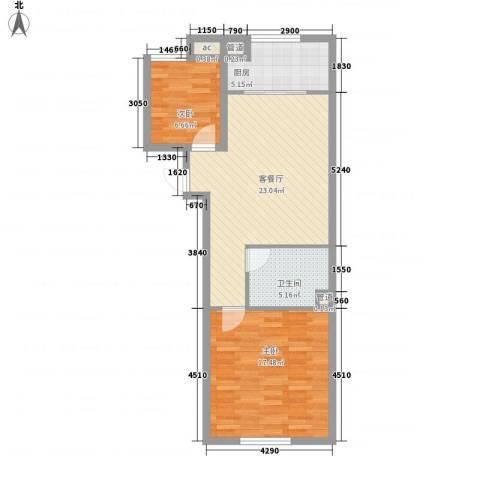 华锦铭苑2室1厅1卫1厨83.00㎡户型图