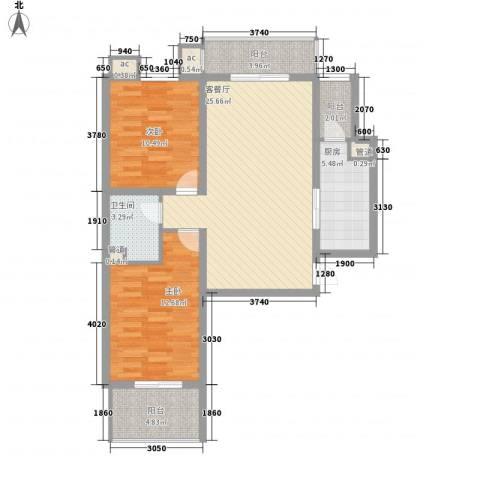 北辰广场2室1厅1卫1厨101.00㎡户型图