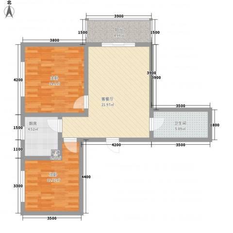 东方绿洲2室1厅1卫1厨90.00㎡户型图