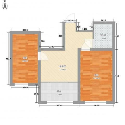 水景阁2室1厅1卫1厨65.00㎡户型图