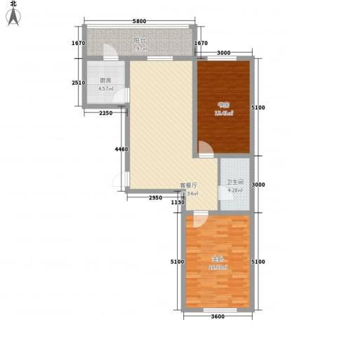 荣盛花园2室1厅1卫1厨83.44㎡户型图