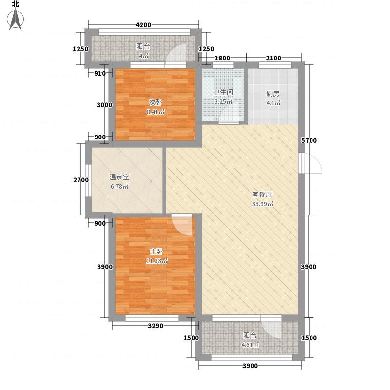 四季祥康温泉小镇85.58㎡一期12、13、18、19号楼标准层E1户型2室2厅1卫1厨