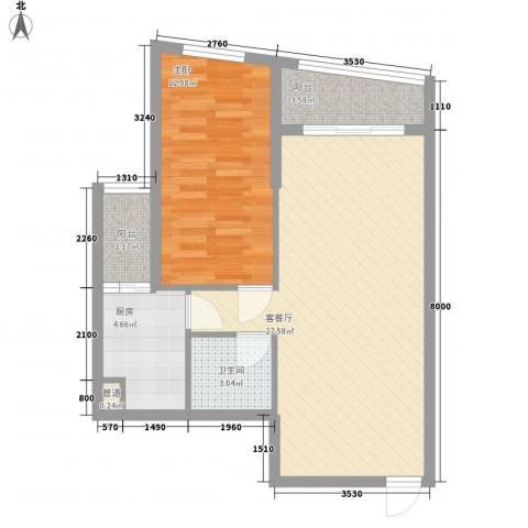 汇展香格里拉1室1厅1卫1厨77.00㎡户型图