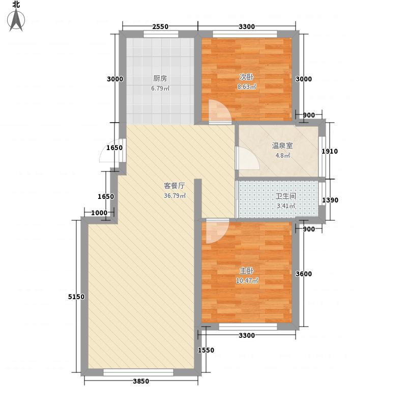 四季祥康温泉小镇87.40㎡一期6、7、14、20、21号楼标准层D3户型2室2厅1卫1厨