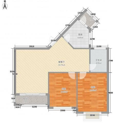 普瑞华庭2室1厅1卫1厨109.00㎡户型图
