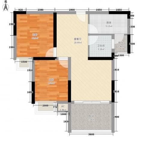 兴海・颐生园2室1厅1卫1厨77.00㎡户型图
