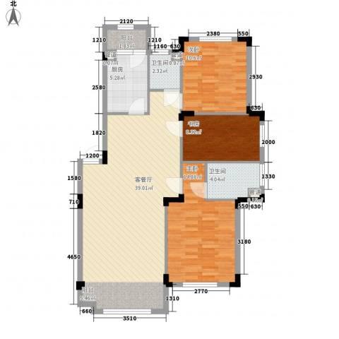 澳海�方1�3室1厅2卫1厨110.00㎡户型图
