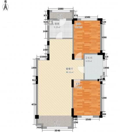 澳海�方1�2室1厅1卫1厨96.00㎡户型图
