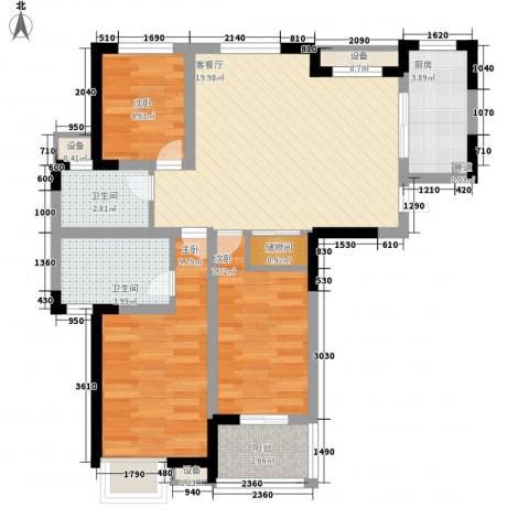 顺园二村3室1厅2卫1厨87.00㎡户型图