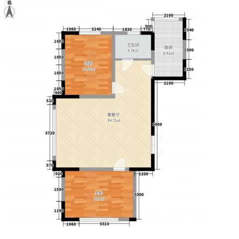 龙泰富苑2室1厅1卫1厨100.00㎡户型图