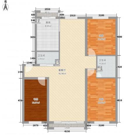农研宿舍3室1厅2卫1厨140.00㎡户型图