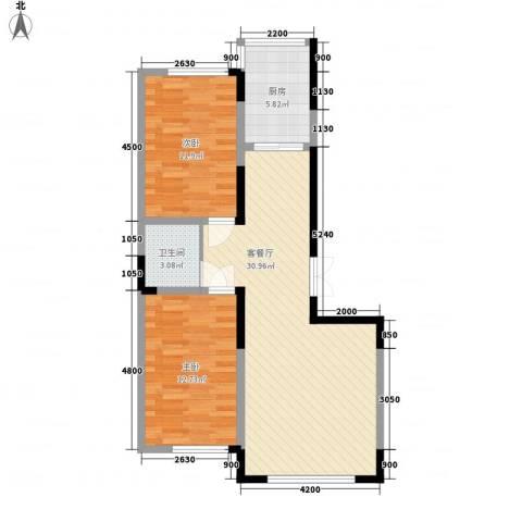 龙泰富苑2室1厅1卫1厨103.00㎡户型图