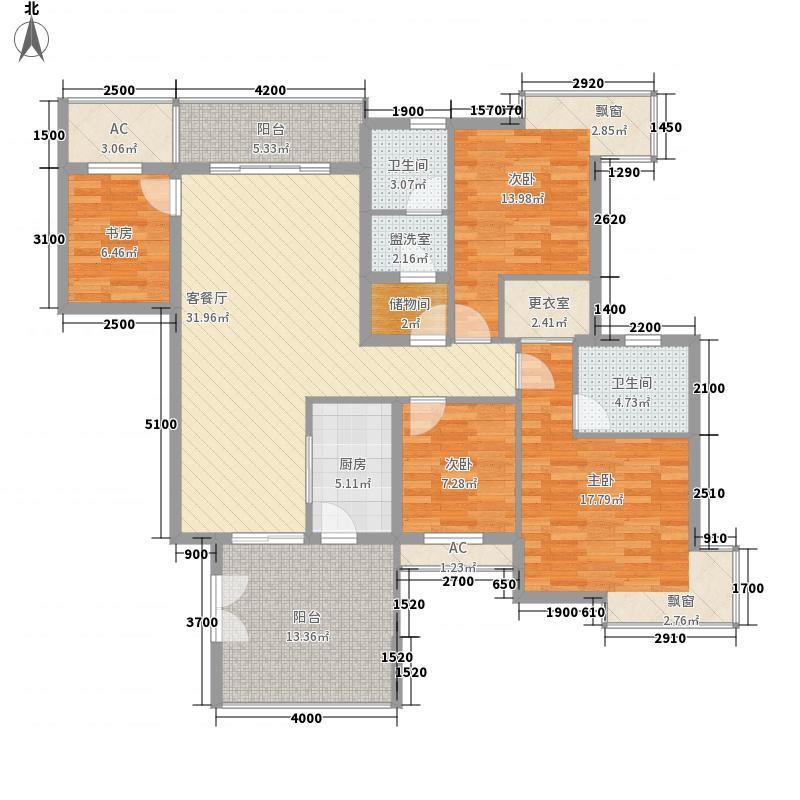 汤泉HOUSE140.65㎡H户型偶数层户型4室2厅2卫1厨
