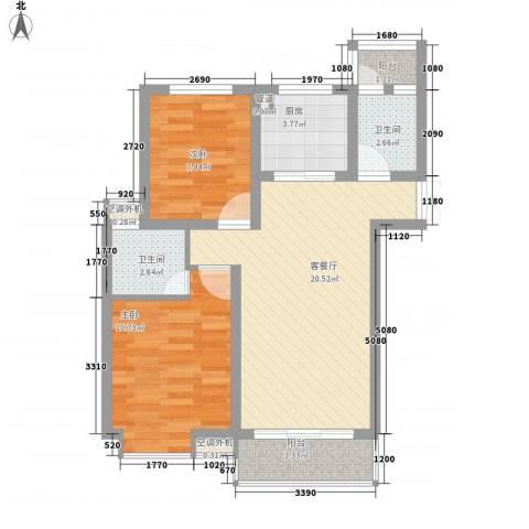 春晖小区2室1厅2卫1厨78.00㎡户型图
