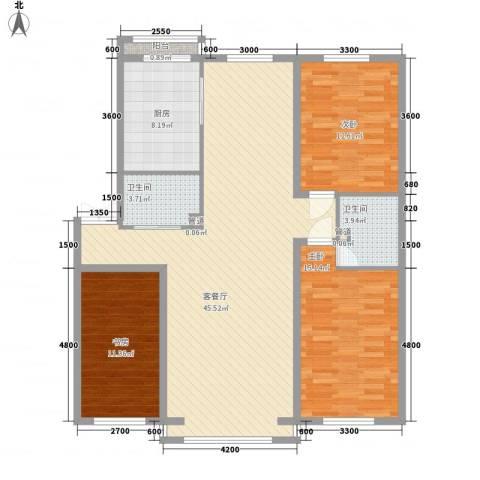 全安小区3室1厅2卫1厨142.00㎡户型图