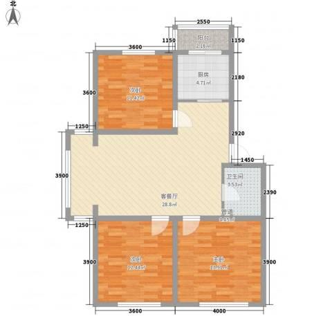 全安小区3室1厅1卫1厨109.00㎡户型图