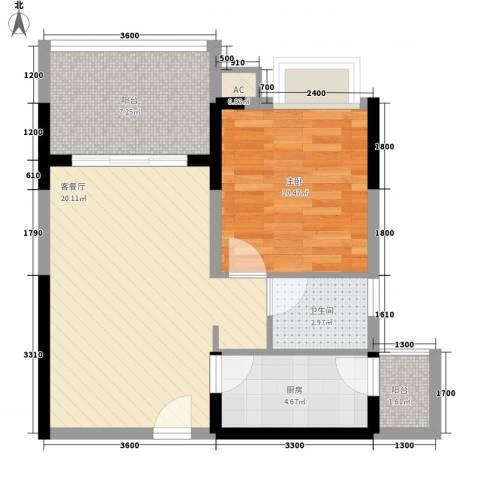 兴海・颐生园1室1厅1卫1厨47.71㎡户型图