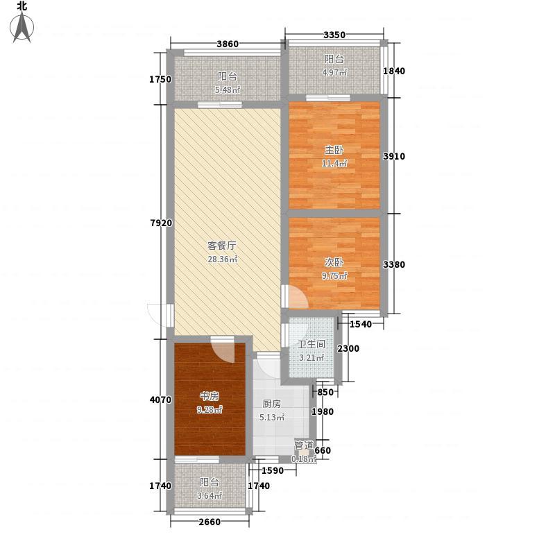 理想岭域户型3室2厅1卫1厨