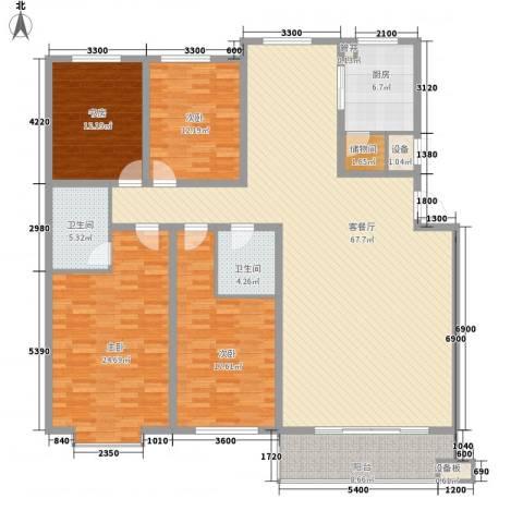 桥华世纪村4室1厅2卫1厨227.00㎡户型图
