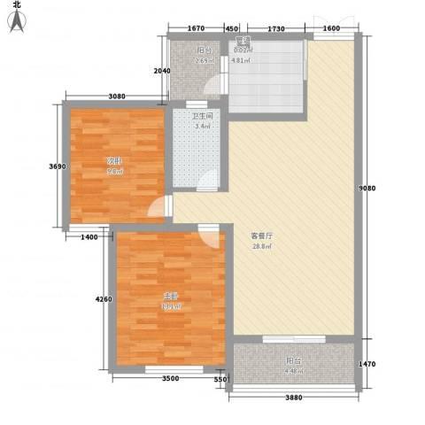前桥小区2室1厅1卫1厨97.00㎡户型图