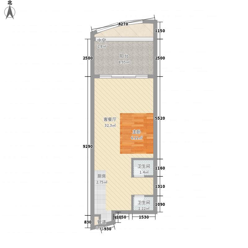中航元屿海57.00㎡B1栋04户型1室1厅1卫1厨