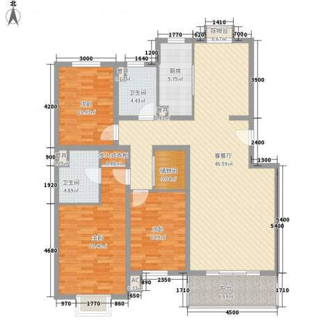 桥华世纪村3室1厅2卫1厨161.00㎡户型图